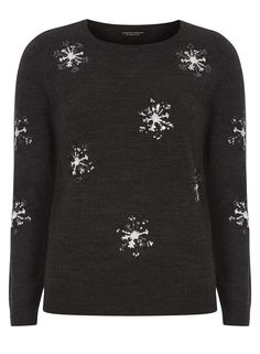 Charcoal Sequin Snowflake Christmas Jumper