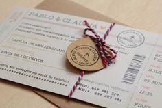 Invitaciones de boda originales  - boarding pass tarjeta de embarque