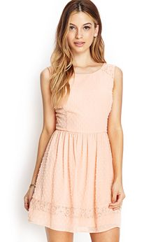 Lace-Trimmed Swiss Dot Dress | FOREVER21 - 2000062108