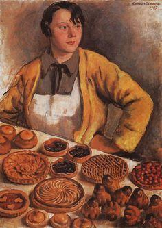 1927 БУЛОЧНИЦА С УЛИЦЫ ЛЕПИК by Zinaida (Yevgenyevna) Serebriakova (Russian artist, 1884~1967)