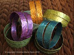LOVELY SMASHED Metal Knitting Needle Bracelet- Thick Spiral Style - Made from Vintage Aluminum Knitting Needles