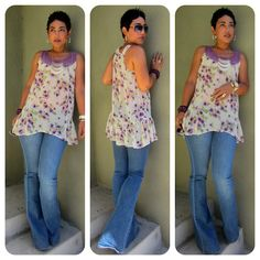 Today's Look @ www.mimigstyle.com  F21 Floral Top + Wide Leg Jeans