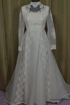 Vintage White 70's Chiffon & Lace Wedding Gown by VintageWedding1, $225.00 www.vintagewedding.com