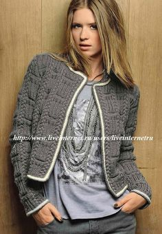 Short Knit jacket in Chanel style. Description of the scheme Crochet Coat, Crochet Clothes, Diy Tricot Gilet, Knit Jacket, Knit Cardigan, Crochet Fashion, Knitting Designs, Look Fashion, Hand Knitting