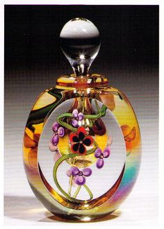 Faceted Floral Perfume Bottle | Flickr - Photo Sharing! Colored Glass, Christmas Bulbs, Glass Art, Perfume Bottles, Ornaments, Christmas Light Bulbs, Coloured Glass, Jar Art, Perfume Bottle