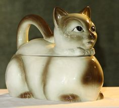RARE Beautiful Ceramic Siamese KITTY Bowtie CAT COOKIE Treat JAR Japan 70's
