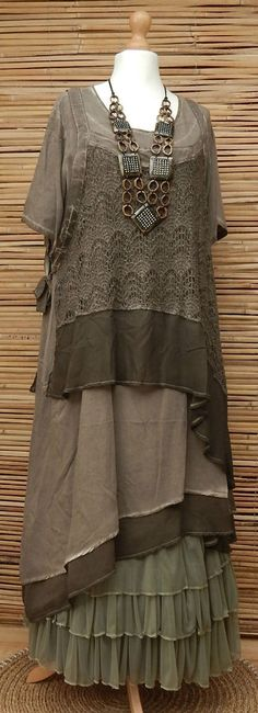 LAGENLOOK*KEKOO*OVERSIZE LAYERING QUIRKY 2 PCS DRESS+OVERTOP*MOCHA*Sz XL-XXL in…