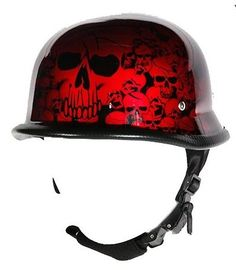 Burgundy Skull Graveyard German Novelty Motorcycle Helmet (Size XL, X-Large). Burgundy German graveyard novelty motorcycle helmet with skulls. Fiberglass shell, Padded lining for comfortable fit. Nylon Y-strap retention system and adjustable quick release chin strap. Steel rivets secure Y-strap to shell, novelty helmets do not meet D.O.T. standards. How to measure for a motorcycle helmet. Use a fabric tape measure and measure the distance around your head just above your eyebrows. Then...