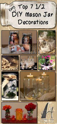 Easy DIY mason jar decorations. Learn more on the My Online Wedding Help blog.  #DIYDecorations #MasonJar