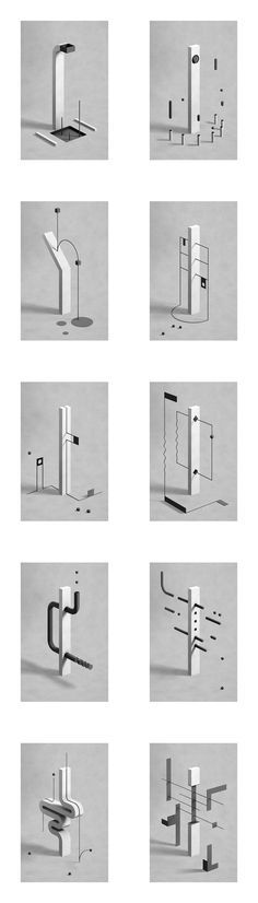 Fabrice Le Nezet -   Monolith illustrations inspired by architecture and kids playgrounds.