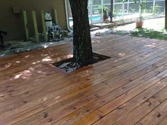 Our new, freshly stained deck. We used Olympic Elite Woodland Oil in the Mountain Cedar color. Cedar Deck Stain, Cedar Fence, Fence Stain, Deck Stain Colors, Swedish Cottage, Porch Paint, Deck Makeover, Outdoor Projects, Outdoor Decor