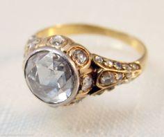 Authentic Georgian Period Dutch Rose Cut Diamond Ring- 2+ Ct.- 18-Karat -Rare!!!