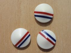 Vintage Bakelite Buttons white with red and blue by Threadbender64,