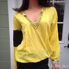 🚨DELETING 10/9🚨Michael Kors YellowPeasant Blouse Boho glam! Fun yellow color with festive studded embellishing around neck, adorned with two tassels. Tiny blemish on arm which could easily be treated or dry cleaned. Otherwise, gorgeous condition! 👗The Chic Shed; A Current and Classic Fashion Curation. 👗 🎁10% OFF BUNDLES🎁 I ❤️ THE OFFER BUTTON😊 ❌NO PP, TRADES, HOLDS❌ Michael Kors Tops Blouses