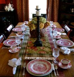 Far Above Rubies: J & G Meakin Romantic England...love the floral, plaid, & transferware