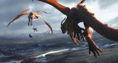 High Fantasy, Fantasy World, Fantasy Artwork, Magical Creatures, Fantasy Creatures, Cool Dragons, Dragon Artwork, Dragon Rider, Creature Concept Art