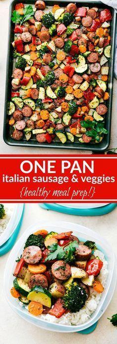 ONE PAN HEALTHY ITALIAN SAUSAGE & VEGGIES - healthy recipes, italian, vegan, vegetable