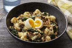 Warm+Cauliflower+&+Kale+Salad+with+Soft-Boiled+Eggs+&+Sauce+Meunière.+Visit+https://www.blueapron.com/+to+receive+the+ingredients.