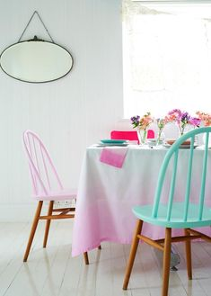 8 Easy DIY Home Decorations …love the super bright chairs and ombré tablecloth.