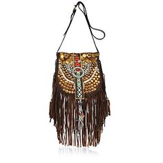 Brown embellished fringed cross body bag - cross body bags - bags / purses - women