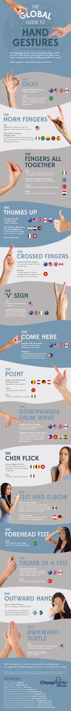 Infographic: The Global Guide to Hand Gestures http://www.huffingtonpost.com/2014/03/17/the-global-guide-to-hand-_n_4956860.html?ncid=fcbklnkushpmg00000063