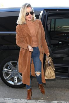Khloe Kardashian wearing Porsche Design by Carrera 5621 Aviator Sunglasses, Topshop Moto Mid Blue Ripped Jamie Jeans, Hermes Birkin Bag in Beige Crocodile and Frame Denim Le Duster Suede Coat
