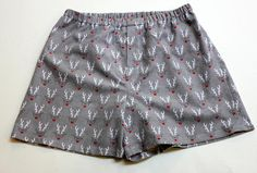Rudolph Reindeer Boxers Flannel Christmas Shorts Mens