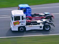 No.95 Richard Collett, MAN TGX, racing against No.03 Steve Powell, MAN, Class A (BTRC) British Truck Racing Championship at Brands Hatch 2016
