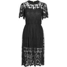 **Gypsy Lace Dress by Sister Jane ($110) ❤ liked on Polyvore featuring dresses, black, lace cocktail dress, midi dress, lace dress, black gothic dress and gypsy dress