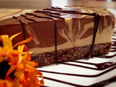 Deluxe Apricot and Chocolate Swirl Cheesecake #nut-free #raw #vegan