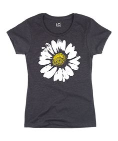 Look at this Heather Charcoal Daisy Crewneck Tee on #zulily today!