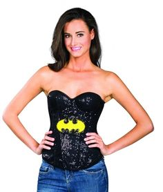 a4c0a83cc52 You re sure to be the sexiest superhero around in this black sequin Batgirl  corset featuring underwire cups