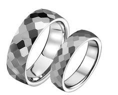 Facet tungsten wedding bands