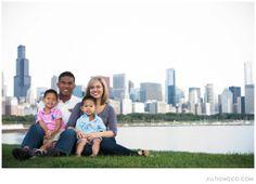 family photo, chicago skyline