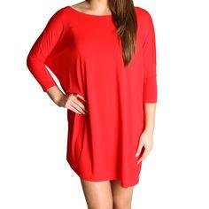 Red Piko Tunic Half Sleeve Dress - Piko Shirts- Medium