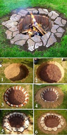 Inground Brick and Stone Firepit