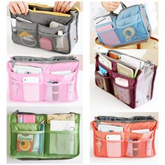 New Women Insert Purse Cosmetic Storage Organizer Bag Handbag Makeup Tidy Travel Container Organization, Handbag Organization, Storage Organization, Handbag Organizer, Purse Storage, Cosmetic Storage, Road Trip Packing, Travel Cosmetic Bags, Travel Kits
