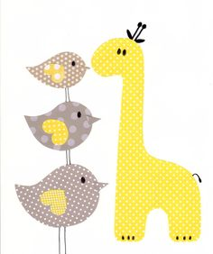 Yellow and Grey Nursery Artwork Yellow Gray by 3000yardsofthread