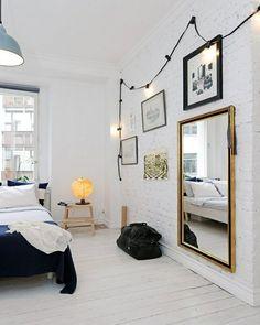 White Scandinavian Bedroom Designs-the lights Dream Bedroom, Home Bedroom, Bedroom Decor, Master Bedroom, Bedroom Ideas, Bedroom Modern, Bedroom Office, Bedroom Lighting, Master Suite