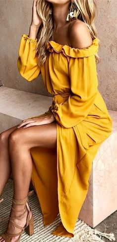 Dresd платья فستان vestir ドレス abito पोशाक elbise Yellow Ruffle Off The Shoulder Maxi Dress ✨ Boho Fashion, Fashion Outfits, Womens Fashion, Fashion Clothes, Cheap Fashion, Dress Clothes, Style Fashion, Clothes Women, Casual Clothes