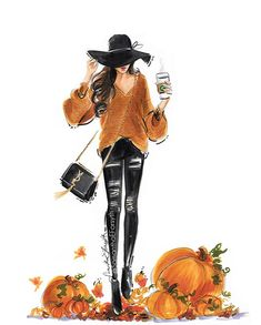 Fashion Art, Autumn Fashion, Autumn Aesthetic, Coffee Girl, Call Art, Fall Wallpaper, Halloween Fashion, Illustrators On Instagram, Hello Autumn