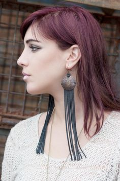 Leather Earrings with Fringe & Vintage Copper Cross Stamped Discs on Etsy, $40.00