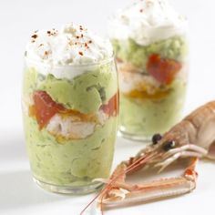 The fashion of verrines continues. Good Food, Yummy Food, Party Dishes, Cooking Recipes, Healthy Recipes, Healthy Food, Scampi, Appetisers, Antipasto