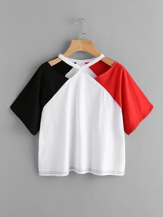 Shop Color Block Cut Out Neck Tee online. SheIn offers Color Block Cut Out Neck Tee & more to fit your fashionable needs. Indian Fashion Dresses, Girls Fashion Clothes, Teen Fashion Outfits, Girl Outfits, Cute Lazy Outfits, Crop Top Outfits, Pretty Outfits, Stylish Dresses, Stylish Outfits