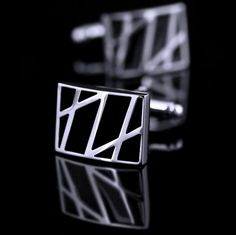 Rectangle cufflinks with black enamel base, fashionable lines pattern featured. The beautiful cufflinks will brighten up your casual look. Mode Masculine, Cufflink Set, Black Abstract, Silver Filigree, Black Enamel, Bracelets For Men, Colorful Shirts, Gentleman, Nice Dresses