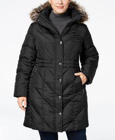 London Fog Plus Size Faux-Fur-Trim Hooded Down Puffer Coat