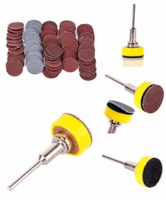 "[Visit to Buy] 100pcs/set Sanding Discs + 1"" Abrasives Hook & Loop Backer Plate + 1/8inch Shank Set For Wood Metal Plastic Stone Grinding #Advertisement"