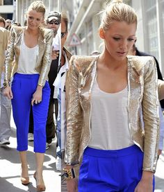 blake lively. statement pants, metallic jacket and loose fit white top.