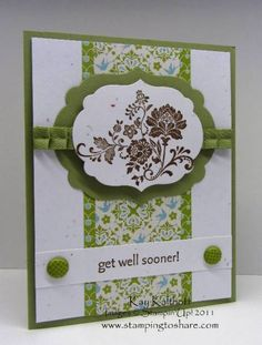 Stampin Up Homemade Greeting Card Get Well 3556 Etsy in