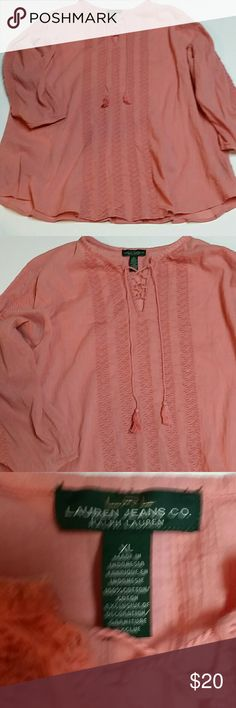NWOT Ralph Lauren Boho Tunic Top NWOT Never worn  Beautiful Lite mauve color boho long tunic top with knitted detailing in the front designed by Ralph Lauren Lauren jeans company size extra large Ralph Lauren Tops Tunics